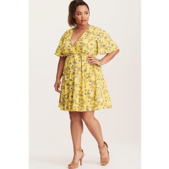 ce809d03131 Yellow Floral Wrap Empire-waist Sundress  NWT . NWT. Torrid